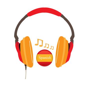 Spanisch lernen Audio mit Kopfhörer